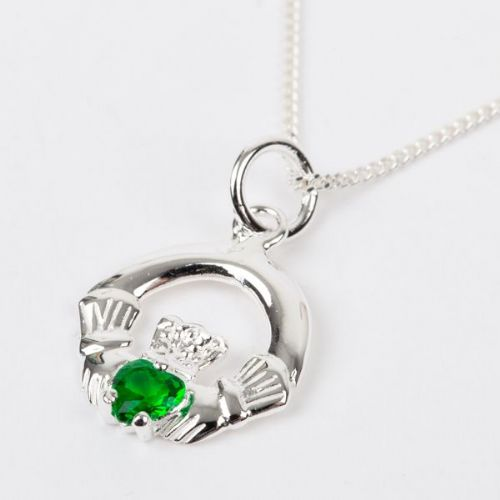 Sterling Silver Claddagh Birthstone Pendant with Emerald